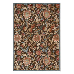"""Nourison - Nourison Graphic Illusions Floral Brown 3'6"""" x 5'6"""" Rug by RugLots - Striking, bold patterns define this alluring collection of tantalizing rugs. Featuring an exciting hand-carved, high-low texture and contemporary color palette, these attractive area rugs will add a distinctive flair to any setting. Indulge the senses and make a bold statement with these durable and captivating creations for the floor."""