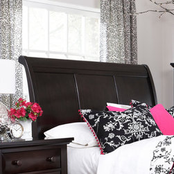Broyhill� - Farnsworth Sleigh Headboard - Your bedroom makeover begins with the focal point: a dramatic, eye-catching bed. The Farnsworth Sleigh Bed is a modern update of English country furniture style. Features: -Gloss Finish: No.-Powder Coated Finish: No.-Non Toxic: No.-Scratch Resistant: No.-Adjustable Height: No.-Nailhead Trim: No.-Lighting Included: No.-Wall Mounted: No.-Reversible: No.-Media Outlet Hole: No.-Built In Outlets: No.-Hidden Storage: No.-Freestanding: No.-Frame Required: Yes.-Frame Included: No.-Swatch Available: No.-Product Care: Never allow water or damp items to sit on your headboard including cleaning cloths, sponges, etc. Never allow alcohol-based products including some cleaners, nail polish and perfumes to come in contact with the wood. They can dissolve the furniture finish on contact, requiring professional repairs. Chemicals in plastic may soften and injure the finish if exposed over a long period of time. Avoid placing hot objects on any furniture surface. Prolonged exposure to direct sunlight can fade the finish, while extreme temperature and humidity changes can cause cracking or splitting. Dust frequently with a clean, damp lint-free cloth to remove abrasive buildup which can damage the finish over time. Occasionally polish with a high-quality non-silicone furniture polish every few months to enhance the beauty of the multi-step finish. Spray the polish onto a clean cotton cloth, apply it to the furniture, and then buff with a second clean, dry cotton cloth. Note that any polish may make a low sheen finish appear more glossy. Avoid oily polishes and waxes. Remove sticky accumulations of skin oils to avoid professional repairs. Wipe the area with a clean cotton cloth dampened with mineral spirits, then buff with a second clean cotton cloth. Touch up small marks and scratches with a marker, scratch remover, or touch-up stick. These can be purchased at any paint store..-Recycled Content: No.Specifications: -Green Guard Certified : No.Assembly: -Assembly Required: Yes.-Additional Parts Required: No.Warranty: -Product Warranty: Limited.