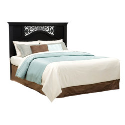 Standard Furniture - Standard Furniture Madera Full/ Queen Headboard in Black - Madera features an inviting look through the combination of clean lines and simple adornments. Wood products with simulated wood grain laminates. Group may contain some plastic parts. French dovetail. Roller side drawer guides. Bail pulls and knobs with simulated pewter color finish. Ebony black color. Surfaces clean easily with a soft cloth.