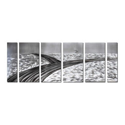 Pure Art - Crossroads in Winter Metal Art Set of 6 - This oversize artwork is done in shades of gray that blur the pureness of black and white. It captures the feeling of sparse reality and starkness that might be found upon a lonely intersection in the middle of winter. A lone tree can be seen in the distance, a symbol of life upon a cold and icy landscape.Made with top grade aluminum material and handcrafted with the use of special colors, it is a very appealing piece that sticks out with its genuine glow. Easy to hang and clean.