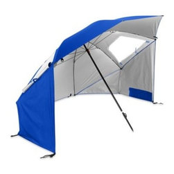 Pro Performance Sports Llc - Pro Performance Super Brella Beach Umbrella in Blue - The Super-Brella is an ideal beach umbrella, sun tent, rain shelter and more. It gives you instant portable protection from the sun, rain, and wind with UPF 50+ quick shade protection. Sets up super fast and can fit your entire family.