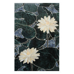 Handcrafted Marble Mural Water Lotus Backsplash - Made to order. Lead time 2-4 weeks. Proudly made in USA.