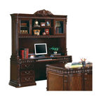 Coaster - Coaster Union Hill Desk and Hutch in Rich Brown - Coaster - Office Sets - 800801KIT - The Union Hill home office collection features a large scale and elegant traditional style for a grand look in your room. With sturdy wood construction in a warm Rich Brown finish these pieces are sure to complement your decor. Felt lined top drawers computer keyboard drawers built in power strips and lighting and wire management holes all add to the great function of each of these home office pieces. Intricate details including classic molding acanthus leaf carved trim and fluted columns create a sophisticated traditional style for the perfect blend of beauty and modern functionality in your home office.The double pedestal computer desk and hutch is made of durable wood and veneers in a warm Rich Brown finish that will complement your home office decor beautifully. The desk offers a comfortable computer work space which includes ball bearing glides on drawers a power strip for electrical supply and a drop front keyboard drawer. A left pedestal has three spacious storage drawers while the right side pedestal features a pencil drawer above a computer tower storage door. The large hutch above offers intricately detailed design elements with a carved acanthus leaf crown detail classic molding and acanthus leaf trim and beautiful fluted columns. A glass door on each end has two shelves inside for storage and display with two spacious shelves in the center that are ideal for books and favorite decorative items. Add this rich computer desk and hutch to your home office for a functional and stylish space the you will truly love.
