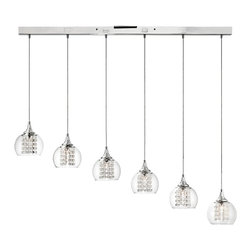 """Possini Euro Design - Contemporary Possini Encircled Crystal 48 1/4"""" Wide Multi Light Pendant - This gleaming crystal island light has a chic modern look that will turn a kitchen stairwell or home bar area into a stylish showroom. Chrome finish mounting hardware embellishes the six clear glass globes that cover strings of glistening octagonal crystal beads. A sleek adventure in home lighting from Possini Euro Design. Chrome and clear glass crystal island light. Clear glass and octagon bead accents. Includes six 20 watt G4 bulbs. 45 1/4"""" wide. 6"""" deep. 48"""" high. 10 lbs hanging weight.  Chrome and clear glass crystal island light.  Clear glass and octagon bead accents.  A large chandelier ideal for oversized rooms.  Includes six 20 watt G4 bulbs.  45 1/4"""" wide.  6"""" deep.  48"""" high.  10 lbs hanging weight."""