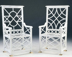 Chinese Chippendale Star-Back Chair - This stunning outdoor Chinese Chippendale chair is available in two finishes and many colors.