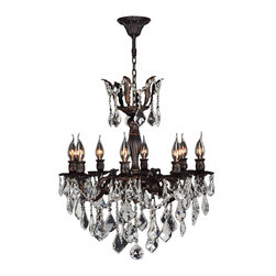 "Worldwide Lighting - Versailles 8 Light Flemish Brass Finish Crystal Chandelier 23"" - This stunning 8-light Chandelier only uses the best quality material and workmanship ensuring a beautiful heirloom quality piece. Featuring a cast aluminum base in Flemish Brass finish and all over clear crystal embellishments made of finely cut premium grade 30% full lead crystal, this chandelier will give any room sparkle and glamour. Worldwide Lighting Corporation is a privately owned manufacturer of high quality crystal chandeliers, pendants, surface mounts, sconces and custom decorative lighting products for the residential, hospitality and commercial building markets. Our high quality crystals meet all standards of perfection, possessing lead oxide of 30% that is above industry standards and can be seen in prestigious homes, hotels, restaurants, casinos, and churches across the country. Our mission is to enhance your lighting needs with exceptional quality fixtures at a reasonable price."