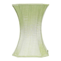 Jubilee Collection - Medium Shade - Hourglass - Plain - Modern Green - Material: silk, metal. 7 x 7 x 10 in.