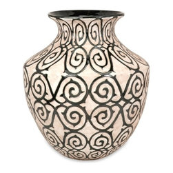 Bronze and Cream Benigna Oversized Wide Floor Vase - *With a muted bronze pattern raised from a cream finished bodice, the wide Benigna oversized floor vase has a sophisticated and luxurious appeal.