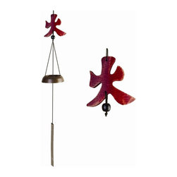 Oriental Unlimited - Carved Wooden Element Wind Chime with Fire Sy - Interesting variation of a common wind chime. Features a cast Brass bell and a carved wooden symbol as the yoke. Fire symbol. No assembly required. 20 in. L x 3 in. W
