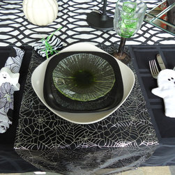 Halloween tablescape and hutch - Halloween tablescape-Black, White, and a touch of green