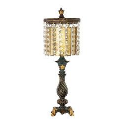 Dimond Lighting - Dimond Lighting 93-090 Amber and Crystal Gold Leaf Table Lamp - Dimond Lighting 93-090 Amber and Crystal Gold Leaf Table Lamp