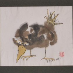 Audrey Mabee, 1970 'Ridiculous Birds I have Known' Series #3 - 1970, 'Ridiculous Birds I Have Known' #3; signed watercolor on Chinese rice paper; acid-free mat; overall size 14 w. x 11 h. Please allow additional lead time as this artwork is shipped from Canada (to Seattle), before being shipped to buyer.