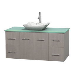 "Wyndham Collection - Centra 48"" Grey Oak Single Vanity, Green Glass Top, White Carrera Marble Sink - Simplicity and elegance combine in the perfect lines of the Centra vanity by the Wyndham Collection. If cutting-edge contemporary design is your style then the Centra vanity is for you - modern, chic and built to last a lifetime. Available with green glass, pure white man-made stone, ivory marble or white carrera marble counters, with stunning vessel or undermount sink(s) and matching mirror(s). Featuring soft close door hinges, drawer glides, and meticulously finished with brushed chrome hardware. The attention to detail on this beautiful vanity is second to none."