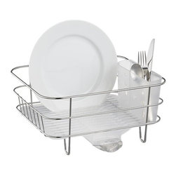 simplehuman® Compact Dish Rack - Compact stainless steel and plastic rack rests on countertop or nests in sink, thanks to a removable drain spout. Includes plastic flatware caddy.