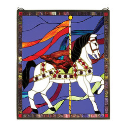 Meyda Tiffany - Meyda Tiffany Carousel Stained Glass Tiffany Window X-27213 - A royal purple backdrop accentuates the classic carousel horse on this Meyda Tiffany stained glass Tiffany window. From the Carousel Collection, this charming design incorporates beautiful jewel tones and dark tones for a dramatic effect to this contemporary wall art that will dazzle and delight.