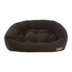 Jax & Bones - Jax & Bones Reptile Velour Napper Bed Espresso X-Large - An original design by Jax and Bones! An oval bolster bed that is perfect for dogs that like to lean, curl, or cuddle. Fabric is made from a high performance micro-denier plush velvet with 2 removable inserts for easy care. Offered in 4 sizes and inevitably the softest and favorite dog bed your pet will ever have!