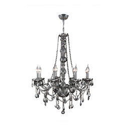 """Worldwide Lighting - Provence 8 Light Chrome Finish and Chrome Crystal Chandelier 24"""" D x 34"""" H Large - This stunning 8-light Crystal Chandelier only uses the best quality material and workmanship ensuring a beautiful heirloom quality piece. Featuring a radiant chrome finish and finely cut premium grade chrome colored crystals with a lead content of 30%, this elegant chandelier will give any room sparkle and glamour. Worldwide Lighting Corporation is a privately owned manufacturer of high quality crystal chandeliers, pendants, surface mounts, sconces and custom decorative lighting products for the residential, hospitality and commercial building markets. Our high quality crystals meet all standards of perfection, possessing lead oxide of 30% that is above industry standards and can be seen in prestigious homes, hotels, restaurants, casinos, and churches across the country. Our mission is to enhance your lighting needs with exceptional quality fixtures at a reasonable price."""