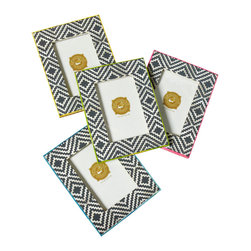 Mission 4 x 6 Photo Frame - Yellow - A touch exotic and a wonderful way to add a small splash of color to any space, the Mission Frame has a woven bone print with your choice of four brightly hued colors as a border and that brings an element of culture to your office or living area.