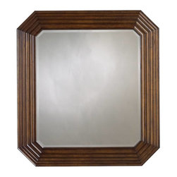 Stanley - Archipelago Tradewinds Landscape Mirror, Fathom - Note how the relaxed corners and beveled edge of the glass in the Tradewinds Landscape Mirror transition cleanly to the frame, whose layered effect evokes rippled water. Like a jewel disturbing the surface of a quiet pool.