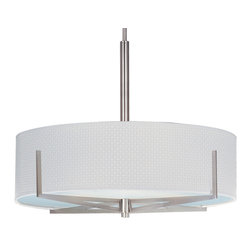 ET2 Lighting - Elements 3-Light Pendant - Draw attention to your favorite furnishing or area of a room with this unique light fixture. Choose your drum fabric and the metallic finish to create a stunning focal point.
