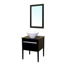 Bellaterra - 26 In Single Sink Vanity - Wood - Black - This black marble counter-top cabinet features a raised round  white ceramic sink, space-saving draw down door, and brush nickel finish door handles constructed in an exquisite contemporary style. Dimension: 26Wx22Dx30.3H * ** * Birch* Black* Black Marble* White Ceramic Sink*Brush * Nickel finish hardware* Pre-drilled with 1 hole - One slot faucet, faucet and mirror not included* Slight assembly required. Dimensions: 26 in. x 22 in.