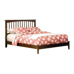 Atlantic Furniture - Atlantic Furniture Brooklyn Platform Bed with Open Footrail in Antique Walnut-Tw - Atlantic Furniture - Beds - AP9021004 - The warm wood finish accentuates the classic mission style slat and post design of this beautiful platform bed. Comfortable and eclectic it will add character and timeless elegance to your decor.