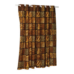 """EZ-ON """"Wild Encounters"""" Polyester Shower Curtain - """"Ez On"""" Fabric shower curtain with built in shower curtain hooks:  size 70"""" wide x 72"""" long; pattern name """"Wild Encounter""""; color brown. Make your bathroom sizzle without any added frustration with our animal print """"Wild Encounters"""" EZ-ON Shower Curtain (standard size 70'' wide x 75'' long). Using patented Hookless technology, our EZ-ON curtains come with built in flat top rings that simply snap on to your existing shower curtain rod--pesky hooks no longer required. Additionally, this 100% polyester curtain resists water and is machine washable. """"Wild Encounters"""" is also available in extra long, extra wide, and shower stall sizes.   Machine wash in warm water, tumble dry, low, light iron as needed"""