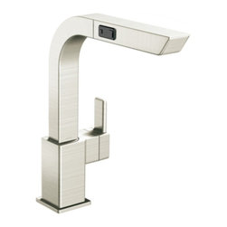 "Moen - Moen S7597CSL 90 Degree Single Handle High Arc Pullout Kitchen Faucet in Classic - Moen S7597CSL 90 Degree Single Handle High Arc Pullout Kitchen Faucet in Classic StainlessWith its ultra-contemporary styling, 90 Degree brings a clean, minimalist aesthetic to the home. Single-hole mount provides a clean and uncluttered presentation against today's popular solid surface countertops. Moen S7597CSL 90 Degree Single Handle High Arc Pullout Kitchen Faucet in Classic Stainless, Features:• High-arc spout provides more clearance to fill or clean large pots• One-handle lever design• Pullout spray with 68"" braided hose• Aerated and rinse spray functions• Single-hole mount• Spout height: 12-3/8""• Spout reach: 8 1/4""• 360? rotating spout provides ability to install handle on either side• Pause button temporarily stops the flow of water• Flexible supply lines with 3/8"" fittings connect directly to supply stops• 2.2 GPM (8.3 l/min) max• ADA CompliantMoen Installation Instructions  Moen Limited Lifetime WarrantyView the Entire Moen 90 Degree CollectionView All"