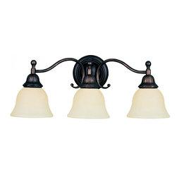 Joshua Marshal - Three Light Oil Rubbed Bronze Soft Vanilla Glass Vanity - Three Light Oil Rubbed Bronze Soft Vanilla Glass Vanity
