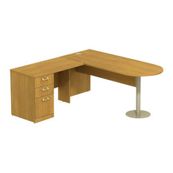 """BBF - BBF Quantum 72W X 30D LH Peninsula L-Desk and 3Dwr Pedestal - BBF-Commercial Grade Office-QUA052MCL-Artfully designed Quantum never goes out of style. Arrange it for basic small-footprint configurations or expand and accessorize for more complex needs. The BBF Quantum Modern Cherry 72"""" W x 30""""D LH Peninsula L-Desk w/ 3-Drawer Pedestal (B/B/F) offers style and storage for any office. Its """"L"""" configuration and peninsula takes up minimal floor space and provides a place for associates to gather. Single pedestal return has two box drawers for miscellaneous supplies and one file drawer for letter-or Legal-Zize files. Central lock keeps bottom two drawers secure. Wire management keep work surfaces clean of cables and cords. Extruded aluminum door and drawer pulls are solid and stylish. Thermally fused laminate surface resists scratches and stains while durable edge banding protects against dings and dents. Includes BBF Limited Lifetime warranty is American made and GSA approved."""