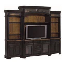 Aspenhome - Aspenhome Cortona Grand Entertainment Wall in Chestnut Brown - Create a traditional Old World feel with updated details by furnishing your home office, living room, and family room with the Cortona collection furniture pieces. Cortona finds residence in upscale lodge environments. The combination of distressed chestnut brown and rub-through black finishes provides a full-bodied styling. The two-tone combination of lightly distressed black finish with a medium wood top sets the sophisticated tone. The rustic finishes look great on the raised panels and carved wood details that decorate the items for an Italian flair. Built-in storage for electronics adds to the modern utility of the items while maintaining classic style for your friends and family to admire. This sophisticated grand entertainment wall creates a great wall unit for your TV and electronic components. The back panel of the unit features a medium wood finish to contrast well with the dark overall finish. The center hutch for your widescreen TV, five drawers, one shelf for collectibles, and two glass doors with inside storage room to store DVDs, books, electronic components, and more with classic style. Three-way touch lighting in the center display area will illuminate and show off your items. One of the drawers includes a drop down tray designed for use with a gaming system. The side piers on either side provide great additional storage with three shelves each as well as hidden pull-out media storage, one drawer, and storage inside two doors. The grand sophistication of this entertainment wall adds a classy place for entertainment.