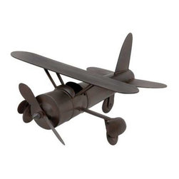 """BZBZ54422 - Plane in Rich Chocolate Color Finish with Easy Mobility - Plane in Rich Chocolate Color Finish with Easy Mobility. Add an imperial look to your room with this metal plane. It comes with the following dimensions 18""""W x 15""""D x 9""""H."""