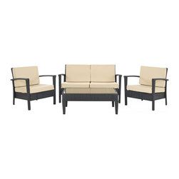 Safavieh - Piscataway 4 Pc Set - Brown/ Yellow - Beauty meets durability in the chic and contemporary Piscataway 4-piece wicker outdoor set. With weather-resistant aluminum frame for stability, and brown PE wicker for easy-care and long wear, this set is upholstered in yellow fade resistant Terylene fabric that is suited for the toughest weather conditions.