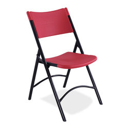 National Public Seating - National Public Seating 600 Series Blow Molded Folding Chair in Red, Black - These high-quality blow-molded resin plastic folding chairs feature a contoured seat and back for comfort. Lightweight for easy handling, they are stain resistant and perfect for easy set up and tear down, indoors or outdoors. Powder coated frame in black has two cross braces for stability and under seat cross braces for strength.