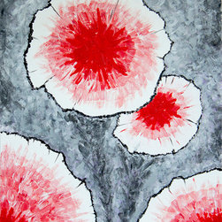 It's a Beautiful World! - Ben Gertsberg, Fantasy Flowers in Red No 1, Limited Edition Art Print - Fantasy Flowers in Red No 1 - limited edition art print of original acrylic painting. One of two pieces.