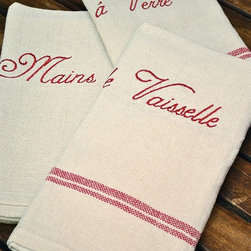 Tea Towels - French Dish Towels - Set of 3 - One thing you really can't have enough of in a kitchen, in our opinion, is fun dish towels, one of the necessities that also change the feel of a kitchen instantly. This set is really fun.