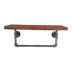 "Industrial Lightworks - Reclaimed Wood Shelf With Towel Rack - Industrial Steel Pipe towel holder with a recycled wood shelf. Made from re-purposed 1/2"" black steel pipe and recycled wood. The perfect accessory to your industrial, rustic, or urban bathroom. The pipe, and wood are sealed with a moisture proof satin clear coat finish for years of enjoyment."