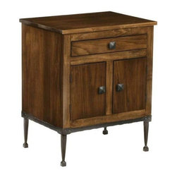 Stone County Ironworks - Forest Hill Linden Side Table in Walnut Finish (Antique Copper) - Finish: Antique Copper. One drawer. Storage space with two doors. Works great as a smaller side table, and accent table or an end table in the living room or bedroom. Sits beautifully upon a forged-iron Forest Hill base. Made from solid wood and iron. 24 in. W x 18 in. D x 30 in. H (55 lbs.)This side table is a wonderful example of artisan-craftsmanship.