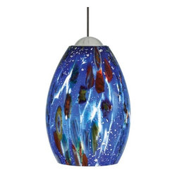 "LBL Lighting - LBL Lighting | Mini-Monty Pendant Light - Mouth-blown Murano glass will mille fiore glass fusion and silver flakes. 4""D X 5.5""H.Can be used with the following systems LBL Single Circuit Monorail, LBL Two-Circuit Monorail, or LBL Fusion Jack Canopies."