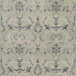 """Loloi - Loloi Fairfield HFF19 (Light Grey, Slate) 7'6"""" x 9'6"""" Rug - 'Updated traditional' may seem like the perfect paradox, but that's exactly the style you can expect from the Fairfield Collection. These classic designs have been refashioned to feature narrower borders and less ornate pattern for a look that's timely, yet timeless. And while your eyes admire the design and colors, your feet will thank you for the feel of thick, all wool pile. Hand-tufted in India, Fairfield rugs are a new classic for today."""
