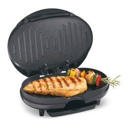 Hamilton Beach - Hamilton Beach 25218 Black Compact Electric Grill - Prepare delicious grilled chicken, hamburgers, vegetables and more with this low-fat indoor grill. This easy-to-use grill can cook a variety of meals in ten minutes and features a nonstick surface and dishwasher-safe dish tray for easy cleaning.