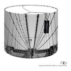 Photography Lamp Shades - The cables of the Brooklyn Bridge crown and wrap around the back of this shade. The moon appears faintly between them.