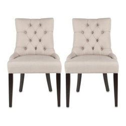 Safavieh - Safavieh Ashley Beige Side Chair (Set of 2) - The Ashley side chair offers classic, yet modern lines and a sense of glamor to formal dining areas, living rooms, and even upscale office settings.
