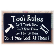 Tool Rules primitive wood sign by pattisprimitives on Etsy