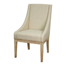 NPD (New Pacific Direct) Furniture - Houston Dining Chair by NPD Furniture, Linen Fabric Natural Wood Legs - The Houston dining chair can add fashion and flare to a room in mere minutes. Update your dining table or use as an accent chair. Clean lines and stylish features complement the beauty of the bonded leather or fabric upholstery and dark brown or natural wood legs. Colors: Mocha, Cream, Linen.
