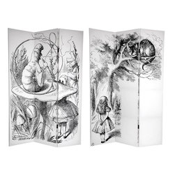 """Oriental Furniture - 6 ft. Tall Double Sided Alice in Wonderland Canvas Room Divider - Journey through the looking glass with this fantastic children's storybook screen. This versatile room divider features the works of renowned British artist John Tenniel, who illustrated the original edition of Lewis Caroll's """"Alice in Wonderland"""". On the front is a whimsical lithographic rendering of Alice in a conversation with The Caterpillar, smoking his hookah on a toadstool. The back depicts our young heroine studying the notorious smile of the Cheshire Cat. These attractive and unique children's art prints provide lovely interior design elements for your living room, bedroom, playroom, dining room, or kitchen."""