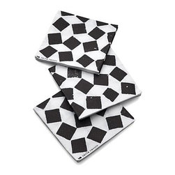 """Set of 20 Fish Tile Paper Beverage Napkins - Paola Navone's joyful combinations of cheerful graphics celebrate high-spirited, carefree gatherings, small and grand. Casual checkerboard pattern takes its cue from the techniques and art of Moroccan terracotta tiling called """"zellij."""""""