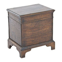 Pre-owned Vintage Oak Trunk - Antique box with hinged top and paneled sides.