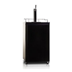 Midea - 4.9 Cubic Foot Refrigerator Black - 4.9 cubic foot refrigerator with chrome tower beer dispenser. Concealed door handle Ideal beer temperature. High cooling efficiency. Convertible for refrigerator application stainless steel door.