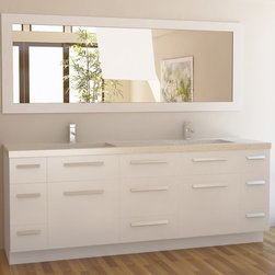 "84"" Moscony Double Sink Vanity - White (J84-DS-W) -"